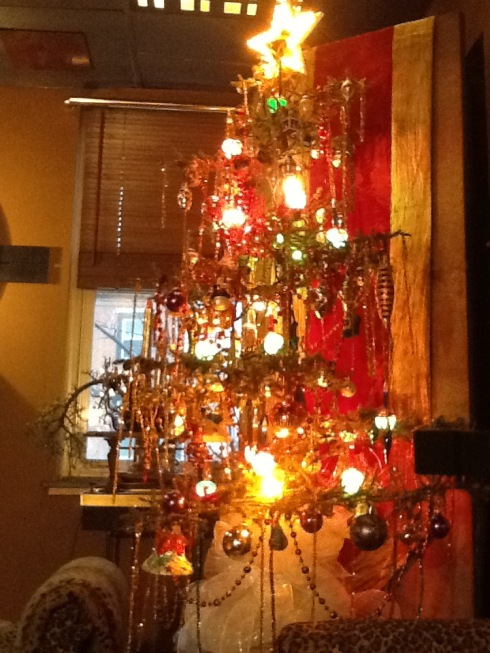 My skinny tree with bubble lights...OF COURSE! and lots of tinsel